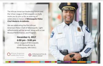 Reception for Minneapolis Police Chief Medaria Arradondo @ Urban League of Minneapolis | Minneapolis | Minnesota | United States