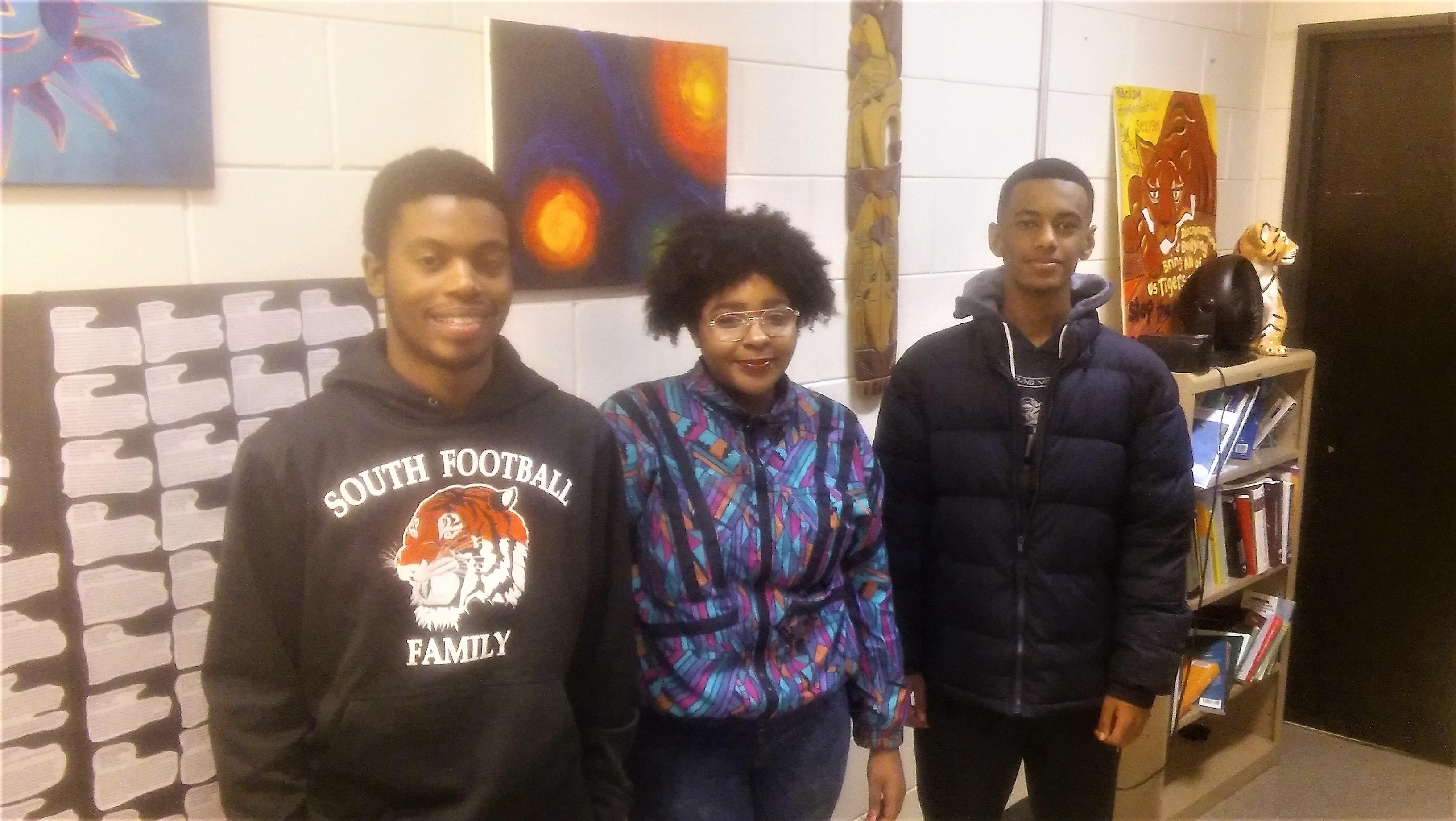 South High School students Clinton Mosley III Diamond Dortch Tiger Worku