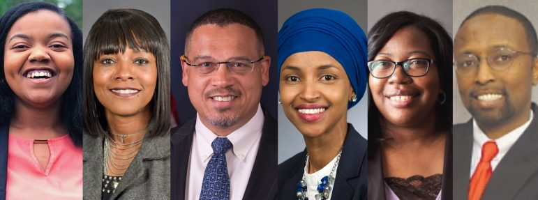 Cheniqua Johnson, Keith Ellison, Rep. Ilhan Omar, Ruth Richardson, Jamal Abdi Abdulahi and Rena Moran