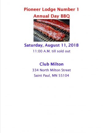 Pioneer Lodge No. 1 Annual BBQ @ Saint Paul | Minnesota | United States