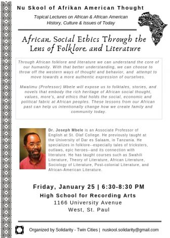 African Social Ethics Through The Lens of Folklore @ High School for Recording Arts